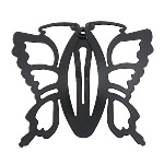 Hair Snap Clips, Iron, Butterfly, baking varnish, black, cadmium free, 50x45mm, Sold by PC