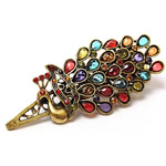 Beak Clips, zinc alloy, antique bronze color zinc alloy, with rhinestone, nicke & cadmium free, 95x38mm, Sold by PC