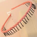 Hair Bands, Hekur, with Saten, Shape Tjera, pikturë, asnjë, rozë, , nikel çojë \x26amp; kadmium falas, 13mm, 30PC/Shumë,  Shumë