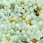 Beads Jadite, Round, natyror, qetë, 2.5-3mm, : 1-2mm, 200PC/Qese,  Qese
