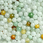 Beads Jadite, Round, natyror, qetë, 3.5-4mm, : 1-2mm, 200PC/Qese,  Qese