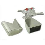 Alloy zink Cord lëkure kapje, Shape Tjera, ngjyrë platin praruar, me diamant i rremë, asnjë, , nikel çojë \x26amp; kadmium falas, 16x18mm, 13x13mm, : 10x5mm, 50I vendosur/Shumë,  Shumë