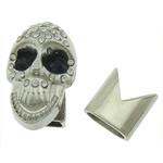 Alloy zink Cord lëkure kapje, Shape Tjera, ngjyrë platin praruar, me diamant i rremë, asnjë, , nikel çojë \x26amp; kadmium falas, 25x15mm, 13x13mm, : 10x5mm, 50I vendosur/Shumë,  Shumë