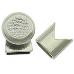 Alloy zink Cord lëkure kapje, Shape Tjera, ngjyrë platin praruar, asnjë, asnjë, , nikel çojë \x26amp; kadmium falas, 14x14mm, 13x13mm, : 10x5mm, 50I vendosur/Shumë,  Shumë