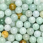 Beads Jadite, Round, natyror, qetë, 8mm, : 1-2mm, 100PC/Qese,  Qese