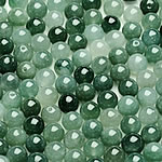 Beads Jadite, Round, natyror, qetë, 7-8mm, : 1-2mm, 50PC/Qese,  Qese