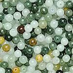 Beads Jadite, Round, natyror, qetë, 5mm, : 1-2mm, 200PC/Qese,  Qese