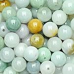 Beads Jadite, Round, natyror, qetë, 12-13mm, : 1-2mm, 15PC/Qese,  Qese
