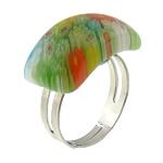 Ring Finger lampwork, with Hekur, Shape Tjera, ngjyrë platin praruar, me fetë Millefiori, asnjë, 22x11mm, :6, 50PC/Shumë,  Shumë