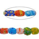Lampwork Millefiori Fetë Beads, Shape përziera, asnjë, me fetë Millefiori, asnjë, 8-11x9mm, :16.5Inç, 20Fillesat/Shumë, 1Strand/41Pcs,  Shumë