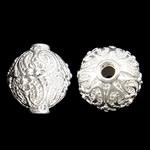 Beads bizhuteri bronzi, Tunxh, Daulle, Ngjyra argjend praruar, asnjë, asnjë, , nikel çojë \x26amp; kadmium falas, 14x14mm, : 2.5mm, 50PC/Qese,  Qese