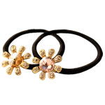 Bisht mbajtës, Gomë, with Alloy zink, Lule, elastik, me diamant i rremë, ngjyra të përziera, 23x23mm, 35PC/Shumë,  Shumë