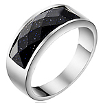 Çeliku Stainless Ring Finger, 316L Stainless Steel, with Goldstone, Shape Tjera, asnjë, për njeriun, ngjyra origjinale, 8mm, :6, 2PC/Shumë,  Shumë