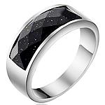 Çeliku Stainless Ring Finger, 316L Stainless Steel, with Goldstone, Shape Tjera, asnjë, për njeriun, ngjyra origjinale, 8mm, :8.5, 2PC/Shumë,  Shumë