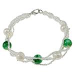 Pearl kulturuar ujërave të ëmbla, with Gërdallë & Seed Glass Beads, Shape Tjera, natyror, e bardhë, 8-9mm, :7Inç, 10Fillesat/Qese,  Qese