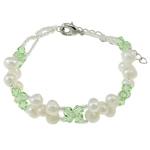 Pearl kulturuar ujërave të ëmbla, with Kristal & Seed Glass Beads, Shape Tjera, natyror, e bardhë, 5-6mm, :6Inç, 10Fillesat/Qese,  Qese