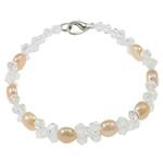 Pearl kulturuar ujërave të ëmbla, with Kristal, Shape Tjera, natyror, rozë, 7-8mm, :7Inç, 10Fillesat/Qese,  Qese