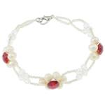 Kulturuar ujërave të ëmbla Pearl byzylyk, Pearl kulturuar ujërave të ëmbla, with Kristal & Seed Glass Beads, Shape Tjera, natyror, e bardhë, 5-6mm, :7Inç, 10Fillesat/Qese,  Qese
