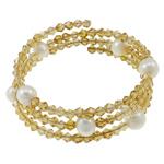 Bracelets Crystal, Kristal, with Pearl kulturuar ujërave të ëmbla & Hekur, Shape Tjera, natyror, 3-fije floku, Lt Topaz, 8-9mm, : 7.5Inç, 10Fillesat/Qese,  Qese