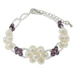 Kulturuar ujërave të ëmbla Pearl byzylyk, Pearl kulturuar ujërave të ëmbla, with Kristal & Seed Glass Beads, Shape Tjera, natyror, e bardhë, 6-7mm, :6Inç, 10Fillesat/Qese,  Qese