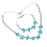 Natyrore kulturuar Pearl ujërave të ëmbla bizhuteri Sets, Pearl kulturuar ujërave të ëmbla, with Kristal & Seed Glass Beads, Shape Tjera, natyror, asnjë, 7-8mm, :17.5Inç, 7.5Inç,  I vendosur