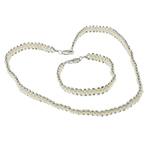 Natyrore kulturuar Pearl ujërave të ëmbla bizhuteri Sets, Pearl kulturuar ujërave të ëmbla, with plastike bakrit të veshura, Shape Tjera, natyror, e bardhë, 4-5mm, :17Inç, 7Inç,  I vendosur
