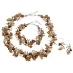 Sets bizhuteri kristal, with Pearl kulturuar ujërave të ëmbla, 7-9mm,7-8mm, :7.5Inç,  17Inç,  I vendosur