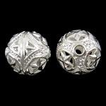 Beads Hollow tunxh, Round, Ngjyra argjend praruar, i uritur, asnjë, , nikel çojë \x26amp; kadmium falas, 15mm, : 2mm, 50PC/Qese,  Qese