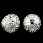Beads Hollow tunxh, Round, Ngjyra argjend praruar, i uritur, asnjë, , nikel çojë \x26amp; kadmium falas, 14mm, : 3mm, 50PC/Qese,  Qese