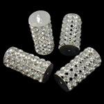 Tunxh, Kolonë, Ngjyra argjend praruar, me diamant i rremë & i uritur, asnjë, , nikel çojë \x26amp; kadmium falas, 15.5x35.5mm, : 2mm, 5PC/Qese,  Qese