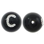 Beads Natyrore Zi agat, Black agat, with Argjilë, Round, asnjë, me diamant i rremë & të vetme të njëanshme, 12mm, : 1.5mm, 10PC/Shumë,  Shumë
