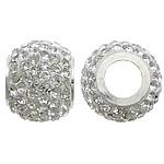 Diamant i rremë balta Beads hapë, Argjilë, with Tunxh, Daulle, ngjyrë platin praruar, me diamant i rremë & vrimë e madhe, asnjë, 11.50x14mm, : 6mm, 20PC/Shumë,  Shumë