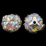 Tunxh, Round, Ngjyra argjend praruar, me diamant i rremë & i uritur, asnjë, , nikel çojë \x26amp; kadmium falas, 13x13mm, : 1.5mm, 10PC/Qese,  Qese