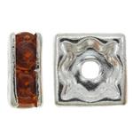 Beads Spacer tunxh, Katror, Ngjyra argjend praruar, me diamant i rremë, asnjë, , nikel çojë \x26amp; kadmium falas, 6x2.5mm, : 1.5mm, 100PC/Qese,  Qese