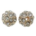 Alloy zink Beads diamant i rremë, Round, KC ngjyrë ari praruar, me diamant i rremë, asnjë, , nikel çojë \x26amp; kadmium falas, 9mm, : 1.5mm, 10PC/Qese,  Qese