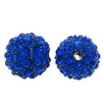 Alloy zink Beads diamant i rremë, Round, electrophoresis, me diamant i rremë, blu të errët, , nikel çojë \x26amp; kadmium falas, 12mm, : 2mm, 10PC/Qese,  Qese