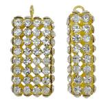 Tunxh, Drejtkëndësh, ngjyrë ari praruar, me diamant i rremë & i uritur, asnjë, , nikel çojë \x26amp; kadmium falas, 13x26x7.50mm, : 2mm, 10PC/Qese,  Qese