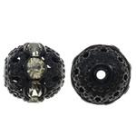 Beads bizhuteri bronzi, Tunxh, Round, pikturë, me diamant i rremë & i uritur, e zezë, , nikel çojë \x26amp; kadmium falas, 12mm, : 1.5mm, 10PC/Qese,  Qese