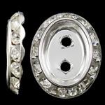 Beads Spacer tunxh, Oval Flat, Ngjyra argjend praruar, me diamant i rremë & double-vrimë, asnjë, , nikel çojë \x26amp; kadmium falas, 16x20x3.50mm, : 2mm, 100PC/Qese,  Qese