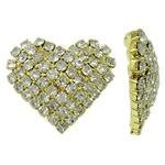 Bizhuteri tunxh Gjetja, Zemër, ngjyrë ari praruar, me diamant i rremë, asnjë, , nikel çojë \x26amp; kadmium falas, 25.50x22x6mm, 5PC/Qese,  Qese
