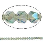 Kristal, Shumëkëndësh, gjysmë-kromuar, faceted, asnjë, 6mm, : 1.5mm, : 23.5Inç, 100PC/Fije floku,  23.5Inç,