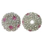 Alloy zink Beads diamant i rremë, Round, electrophoresis, me diamant i rremë, e bardhë, , nikel çojë \x26amp; kadmium falas, 16mm, : 3mm, 10PC/Qese,  Qese