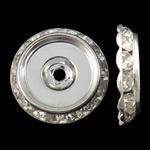 Beads Spacer tunxh, Round Flat, Ngjyra argjend praruar, me diamant i rremë, asnjë, , nikel çojë \x26amp; kadmium falas, 25x5.5mm, : 3mm, 10PC/Qese,  Qese