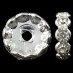 Beads Spacer tunxh, Lule, Ngjyra argjend praruar, me diamant i rremë, asnjë, , nikel çojë \x26amp; kadmium falas, 12x3.5mm, : 2.5mm, 100PC/Qese,  Qese