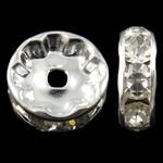 Beads Spacer tunxh, Round, Ngjyra argjend praruar, me diamant i rremë, asnjë, , nikel çojë \x26amp; kadmium falas, 10x4mm, : 2mm, 100PC/Qese,  Qese