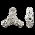 Tunxh, Shape Tjera, Ngjyra argjend praruar, me diamant i rremë & i uritur, asnjë, , nikel çojë \x26amp; kadmium falas, 32x29x12.50mm, : 5.5mm, 2PC/Qese,  Qese