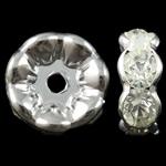 Beads Spacer tunxh, Petull e ëmbël në formë gjevreku, Ngjyra argjend praruar, me diamant i rremë, asnjë, , nikel çojë \x26amp; kadmium falas, 21.5x8.5mm, : 4mm, 10PC/Qese,  Qese