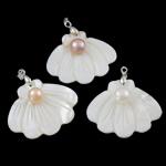 Pearl kulturuar ujërave të ëmbla, with White Shell & Tunxh, Predhë, natyror, ngjyra të përziera, 44x39x9mm, : 3.5x4.5mm, 10PC/Qese,  Qese