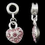 Zink Alloy European Pendants, Alloy zink, Zemër, Ngjyra argjend praruar, me diamant i rremë, asnjë, , nikel çojë \x26amp; kadmium falas, 26x10.50x4.50mm, : 4.5mm, 10PC/Qese,  Qese
