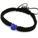 Diamant i rremë Shamballa Bracelets, diamant i rremë Shtrim bead, with Cord najlon & Jo-magnetike kuqe e mbylltë, Shape Tjera, endura, asnjë, asnjë, 10mm, : 7.5Inç, 20Fillesat/Shumë,  Shumë